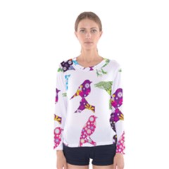 Birds Colorful Floral Funky Women s Long Sleeve Tee