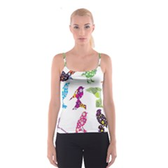 Birds Colorful Floral Funky Spaghetti Strap Top
