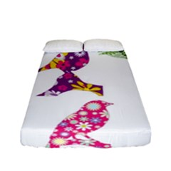 Birds Colorful Floral Funky Fitted Sheet (full/ Double Size)