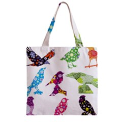Birds Colorful Floral Funky Zipper Grocery Tote Bag