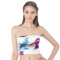 Birds Colorful Floral Funky Tube Top