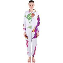 Birds Colorful Floral Funky Hooded Jumpsuit (Ladies)