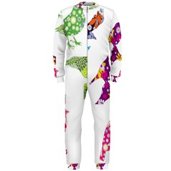 Birds Colorful Floral Funky OnePiece Jumpsuit (Men)