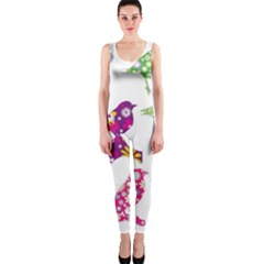 Birds Colorful Floral Funky Onepiece Catsuit