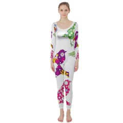 Birds Colorful Floral Funky Long Sleeve Catsuit
