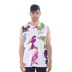 Birds Colorful Floral Funky Men s Basketball Tank Top