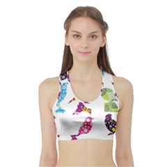 Birds Colorful Floral Funky Sports Bra With Border