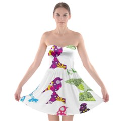 Birds Colorful Floral Funky Strapless Bra Top Dress