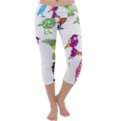 Birds Colorful Floral Funky Capri Yoga Leggings