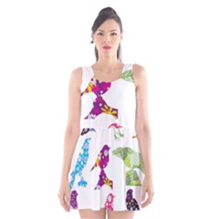 Birds Colorful Floral Funky Scoop Neck Skater Dress