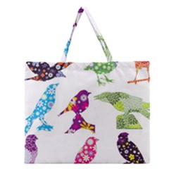 Birds Colorful Floral Funky Zipper Large Tote Bag