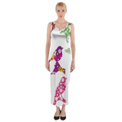 Birds Colorful Floral Funky Fitted Maxi Dress