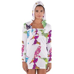 Birds Colorful Floral Funky Women s Long Sleeve Hooded T Shirt