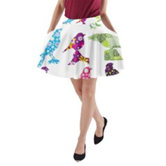 Birds Colorful Floral Funky A Line Pocket Skirt