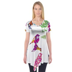 Birds Colorful Floral Funky Short Sleeve Tunic