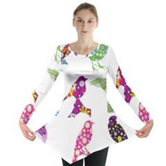 Birds Colorful Floral Funky Long Sleeve Tunic