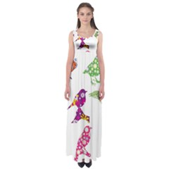Birds Colorful Floral Funky Empire Waist Maxi Dress