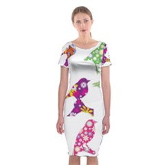 Birds Colorful Floral Funky Classic Short Sleeve Midi Dress
