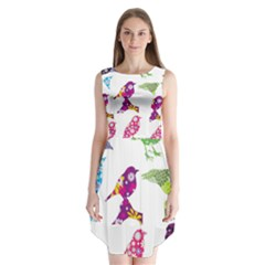 Birds Colorful Floral Funky Sleeveless Chiffon Dress