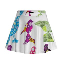 Birds Colorful Floral Funky Mini Flare Skirt