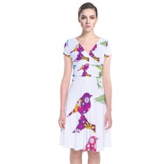 Birds Colorful Floral Funky Short Sleeve Front Wrap Dress