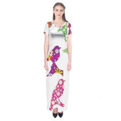 Birds Colorful Floral Funky Short Sleeve Maxi Dress