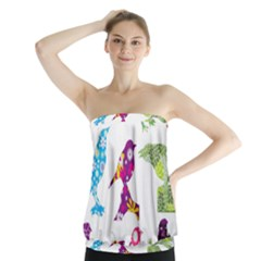 Birds Colorful Floral Funky Strapless Top