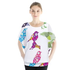 Birds Colorful Floral Funky Blouse