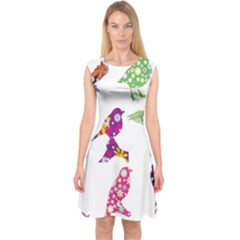 Birds Colorful Floral Funky Capsleeve Midi Dress