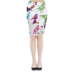 Birds Colorful Floral Funky Midi Wrap Pencil Skirt