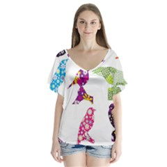 Birds Colorful Floral Funky Flutter Sleeve Top