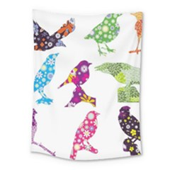 Birds Colorful Floral Funky Medium Tapestry