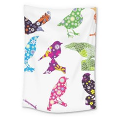 Birds Colorful Floral Funky Large Tapestry