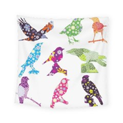 Birds Colorful Floral Funky Square Tapestry (small)