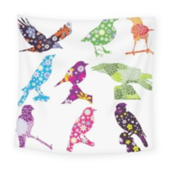Birds Colorful Floral Funky Square Tapestry (large)