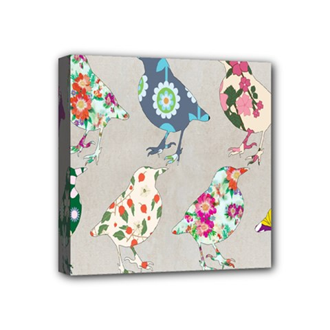 Birds Floral Pattern Wallpaper Mini Canvas 4  X 4