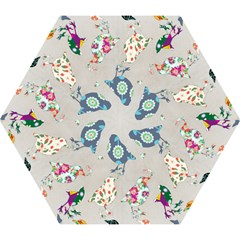Birds Floral Pattern Wallpaper Mini Folding Umbrellas
