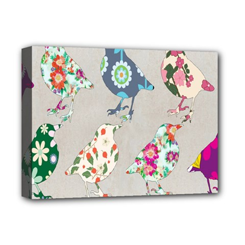 Birds Floral Pattern Wallpaper Deluxe Canvas 16  X 12