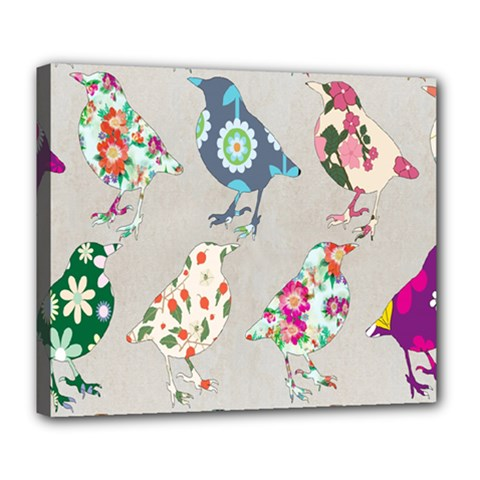 Birds Floral Pattern Wallpaper Deluxe Canvas 24  X 20
