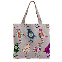Birds Floral Pattern Wallpaper Zipper Grocery Tote Bag