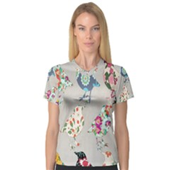 Birds Floral Pattern Wallpaper Women s V-Neck Sport Mesh Tee