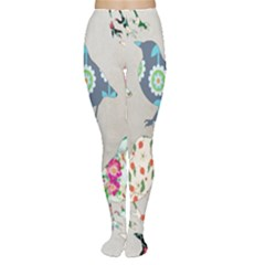 Birds Floral Pattern Wallpaper Women s Tights