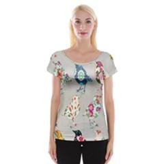 Birds Floral Pattern Wallpaper Women s Cap Sleeve Top