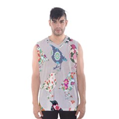 Birds Floral Pattern Wallpaper Men s Basketball Tank Top