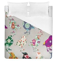 Birds Floral Pattern Wallpaper Duvet Cover (queen Size)