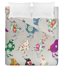 Birds Floral Pattern Wallpaper Duvet Cover Double Side (queen Size)