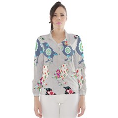 Birds Floral Pattern Wallpaper Wind Breaker (women)