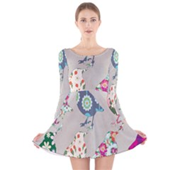 Birds Floral Pattern Wallpaper Long Sleeve Velvet Skater Dress