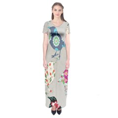 Birds Floral Pattern Wallpaper Short Sleeve Maxi Dress
