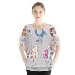 Birds Floral Pattern Wallpaper Blouse